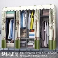 简易布衣柜单人布艺钢管加粗加固加厚全钢架组装收纳储物柜子衣橱