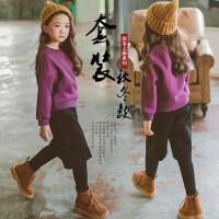 2017女童新款套装加厚抓绒棉质卫衣女童假两件裤裙加绒加厚两件套