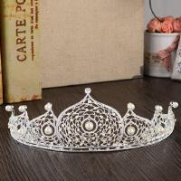 新娘韩式水钻珍珠皇冠新娘结婚发饰女王婚纱礼服配饰品 珍珠皇冠 均码