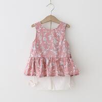 女童套装 2018夏季新款碎花两件套露背上衣+白色短裤韩版套装