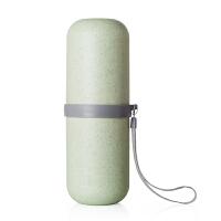 旅行洗漱杯牙刷牙膏毛巾便携套装旅游出差户外用品收纳盒漱口杯包d 浅绿色 圆形
