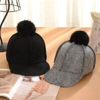 女士时尚毛球马术帽 光板鸭舌帽毛呢帽子 韩版百搭小礼帽毡帽 新款帽子女