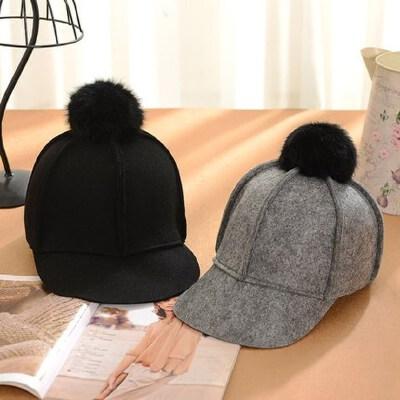 女士时尚毛球马术帽 光板鸭舌帽毛呢帽子 韩版百搭小礼帽毡帽 新款帽子女 品质保证 售后无忧