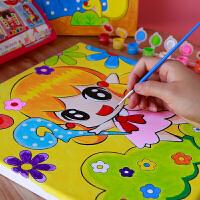 儿童颜料水彩画幼儿园涂鸦填色画布彩绘涂色手工DIY材料