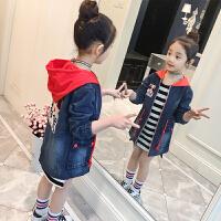 春装女童牛仔外套儿童中长款风衣大童洋气潮衣