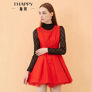 海贝秋季新款女装 时尚圆领镶钻无袖连衣裙