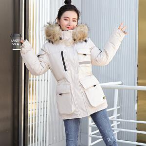 2018冬装新款毛领羽绒棉服女加厚保暖情侣滑雪服加厚中长款棉衣