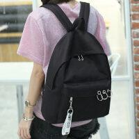 学院风双肩包女包高中初中学生书包电脑包休闲旅游包包潮流小背包 黑色