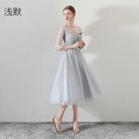 中长款显瘦派对连衣裙灰色晚礼服女伴娘服2018新款韩版毕业小礼服