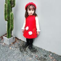 2017冬装大红女童圣诞系列韩国可爱麋鹿羊毛呢背心裙1-5岁