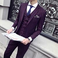 男士修身条纹弹力西服套装男青年时尚婚礼服商务休闲绅士经典西装