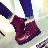 雪地靴棉鞋鞋马丁靴女皮面平底加厚加绒短靴子女鞋