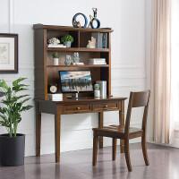 美式实木书桌书架组合学习桌写字台电脑桌简约儿童书柜书桌一体