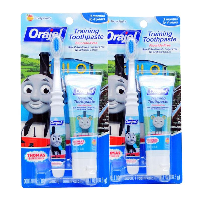 保税区发货/美国直邮 Orajel欧乐 托马斯无氟可吞咽牙膏和牙刷套装 水果味 28.3g*2件 海外购新旧包装随 机发货
