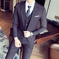 时尚英伦青年大码格子西服套装时尚修身西装马甲西裤三件套礼服男