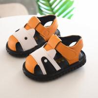 夏季宝宝凉鞋男包头女软底一周岁学步叫叫鞋会响婴儿