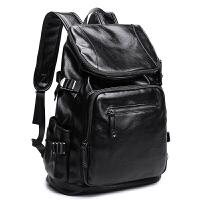 男士双肩包旅行欧美大容量青年学生旅游男包背包书包时尚潮流皮质 黑色+15天包退+质量三包+送运费险
