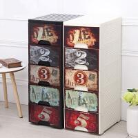 收纳柜 复古窄面柜塑料储物柜加厚抽屉式收纳柜儿童宝宝衣柜整理收纳箱子
