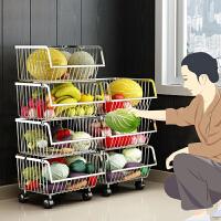 304不锈钢厨房置物架落地多层家用品储物收纳筐放水果蔬菜篮架子