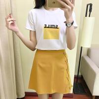 哺乳上衣套装时尚短袖母乳衣服夏季2018喂奶服两件套哺乳裙 黄色