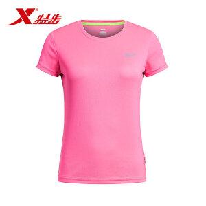 特步夏季新款女款短T恤透气吸汗速干时尚运动短袖上衣