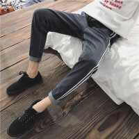 条纹边牛仔裤男士韩版学生小脚长裤新款青少年潮流男裤子