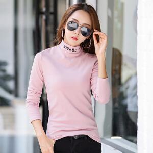 秋冬新款棉修身时尚绣花韩版女装长袖上衣打底外穿t恤衫