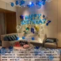 【新品特惠】生日快乐party浪漫情侣派对布置套餐铝膜气球字母装饰用品 今夜豪华蓝色生日套餐+6米线灯1份 3米线灯2