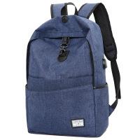 新款防盗双肩包时尚百搭USB接口充电带耳机孔电脑背包休闲旅行包 深蓝色