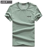 JEEP SPIRIT吉普男装T恤夏季短袖t恤男时尚休闲纯色圆领半袖打底t恤衫户外汗衫