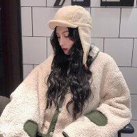 韩版甜美羊羔毛绒帽子女 新款保暖圆顶报童帽画家帽子 女士贝雷帽八角帽女