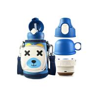 【限时秒杀】杯具熊(BEDDYBEAR)儿童保温杯带吸管316不锈钢保温水壶630ml三盖口袋款 3D版-四叶草小熊