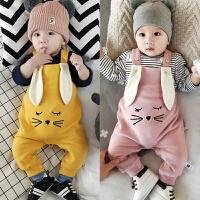 婴儿背带裤冬季加绒连身裤新生儿男女宝宝开档背带外套0-1岁衣服