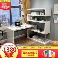 现代时尚书桌台式电脑桌 家用卧室简约旋转转角烤漆书柜书架组合