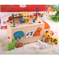 日本Ed.lnter宝宝拖拉玩具车 动物巴士车 益智配对形状积木绕珠车