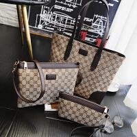 新款三件套女包 子母包手提包欧美时尚 帆布包单肩斜挎包撞色大包