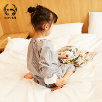 儿童睡衣女夏装2017新款童装韩版可爱圆点爆卡长袖睡衣家居服套装