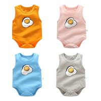 婴儿连体衣服宝宝新生儿季薄款短袖三角3个月款薄爬爬服