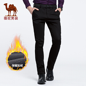 骆驼男装 2018秋季新款男士青年时尚纯色中腰直筒弹力休闲长裤潮