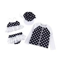 女童分体裙式游泳衣比基尼宝宝长袖儿童泳装防晒中大童四件套 黑色 建议拍大一码