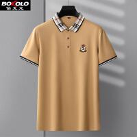 伯克龙 男士短袖Polo衫新款纯棉 男装翻领青中年纯色商务休闲半袖T恤保罗衫A89095
