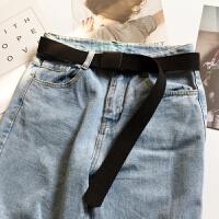 帆布腰带男女士青年学生牛仔裤裤带韩版百搭时尚简约自动扣皮带潮 112cm