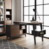北欧现代转角书桌书架套装卧室台式电脑桌椅组合书房办公桌 1.4米电脑桌