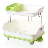 厨房用洗碗沥水筐 千百纳双层厨房置物架放碗盘碗柜沥水架碗架加厚塑料餐具收纳架子 绿色 双层