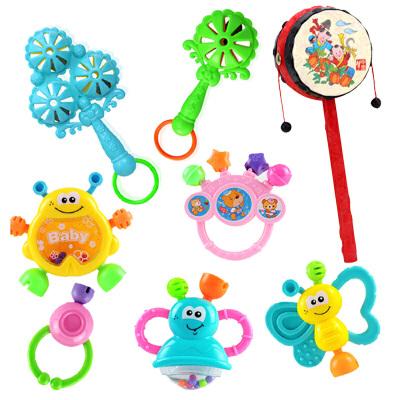 0-1岁婴儿玩具牙胶手摇铃3-6-12个月8益智男女孩早教新生幼儿宝宝 +拨浪鼓