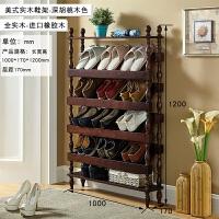 美式全实木超薄鞋架门口客厅家用多层鞋柜简易收纳架置物架