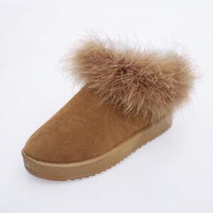 O'SHELL法国欧希尔新品冬季165-1915韩版磨砂绒面平跟女士雪地靴