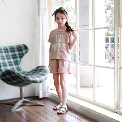 儿童夏天衣服中大女童运动套装夏装短袖t恤短裤两件套休闲韩版潮 发货周期:一般在付款后2-90天左右发货,具体发货时间请以与客服协商的时间为准
