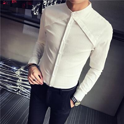白色衬衫男长袖衬衣韩版修身潮流帅气刺绣印花发型师寸衫春季2018 发货周期:一般在付款后2-90天左右发货,具体发货时间请以与客服协商的时间为准