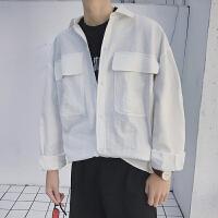 男士简约纯色大口袋日系长袖衬衫男男情侣装基友装衬衣男